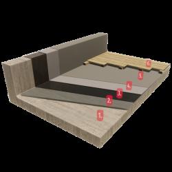 Taras, Balkon z deską drewnianą lub kompozytową